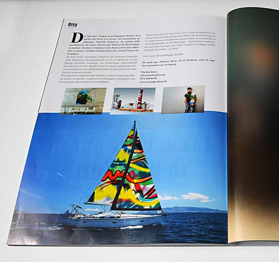 Sie sehen hier den Artikel über meine »Freien Formen in den Raum« im »Disy München Magazin« Frühjahrsausgabe 2018. Marlene Kern, Free Forms° – Art and Products.